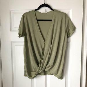 UO Standard sage green short sleeve surplice top